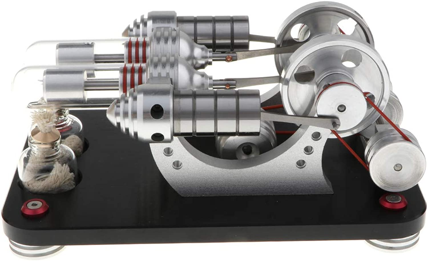 DYNWAVE Hot Air Stirling Engine Motor Powered by Hot Air, DoubleCylinder Mechanism, Education Toy, Collection Gifts Toy