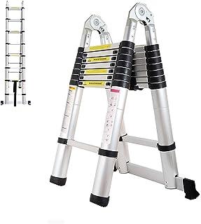 Non-Slip Steps 8FT+8FT A-Type Ladder Aluminum Telescoping Ladder 16.5FT Extension A-Frame Ladder 5M Straight Ladder Portable Folding Lightweight Climb Ladder 330lbs Capacity EN131 Certificated