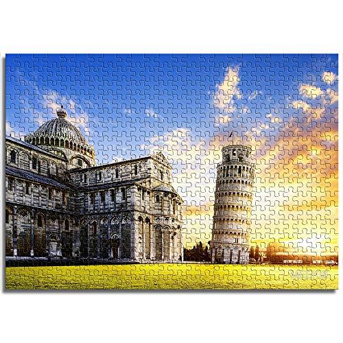 LLLTONG Rompecabezas para adultos 1000 piezas Torre inclinada de Pisa Juegos Educativos, Puzzle para Niños