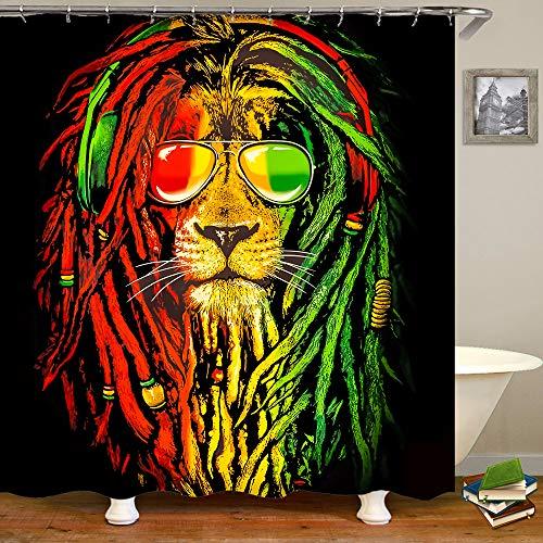SARA NELL Lion Ling Duschvorhang Reggae Rasta Löwe Duschvorhang Badezimmer Vorhang Wasserdicht Polyestergewebe 183 x 183 cm mit 12 Haken Gelb Grün Rot