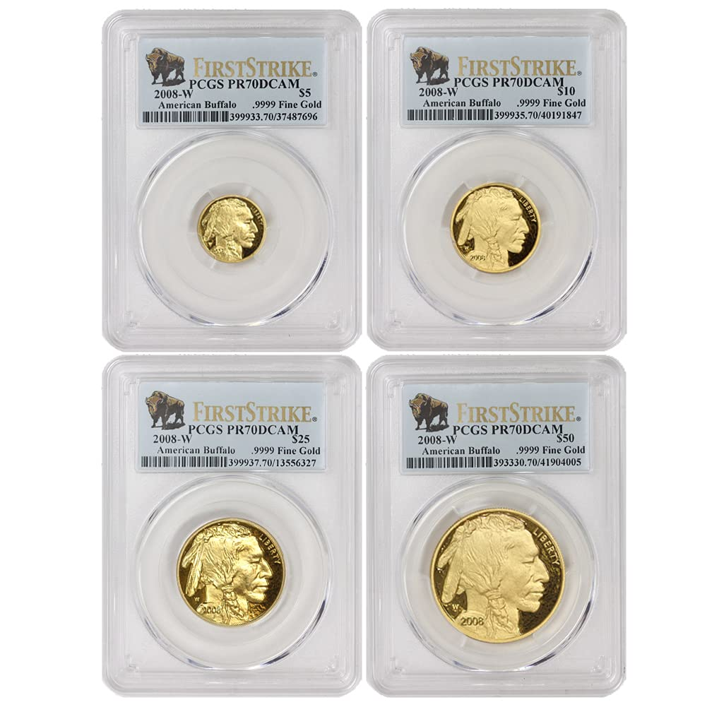 2008 W Set of 4 American Gold PR-70 Deep Ranking TOP2 First Cameo Buffalos St Super popular specialty store