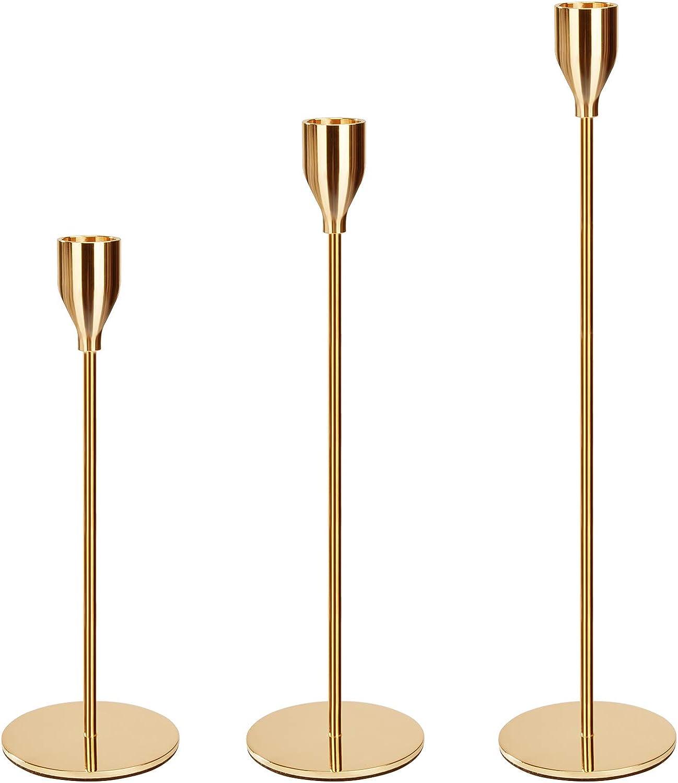 MaoXinTek Candelabro Decorativos de Velas, Sola Cabeza Portavelas, Candelabros Decorativos Mesa para el Banquete de Boda y Casa Hogar Comedor (33/28/23cm)
