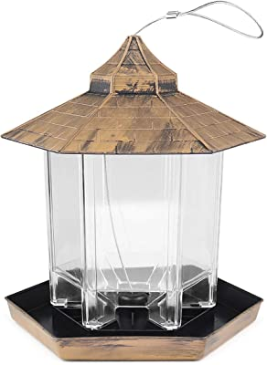larruping Wild Bird Feeder Hanging Hexagon Shaped with Roof for Garden Yard Outside Decoration and Bird Watchers