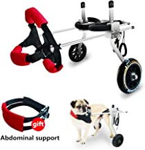 SYOSIN Adjustable Wheels Dog Wheelchair Cart Disabled Dog Assisted Walk Car for Hind Leg Rehabilitation for Dogs Weight 6 to 45 lbs, Lightweight Dog Cart for Back Legs