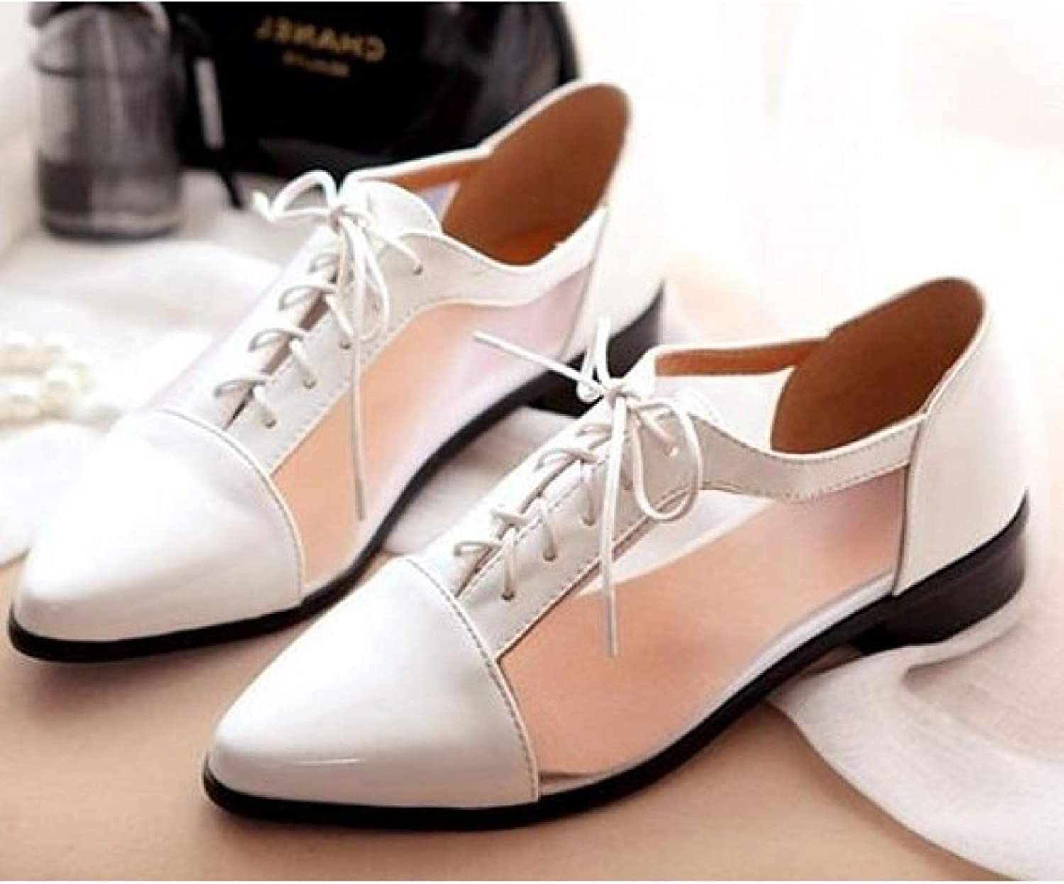 Fay Waters Women's Pointed Toe Cutout Fashion Flat shoes Patent Leather Lace Up Oxfords