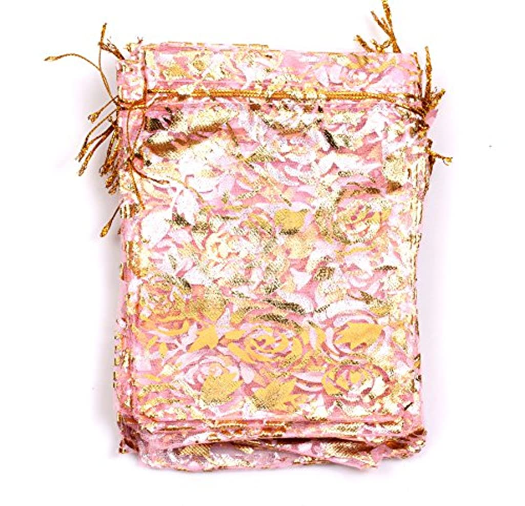 EDENKISS Mesh Drawstring Organza Wedding Gift Jewelry Candy Pouch Bags 8.5x11.5cm (8.5x11.5cm, Hot Pink&Rose)