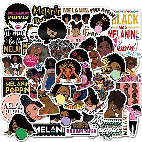 WYDML Inspiring Black Girl Black Girl Black Poppy Clip Fai da Te Laptop Phone Chitarra Skateboard PVC Decal Sticker Giocattolo per Bambini 50Pcs