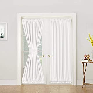 Lazzzy White French Door Panel Curtain Room Darkening Linen Textured Curtain Thermal Insulated 1 Tie Back Included 1 Piece 72 Inch