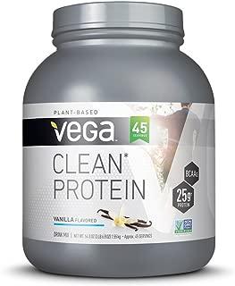 Vega Clean Protein Powder Vanilla (45 Servings, 3.43lb) - BCAAs, Vegan, Non Dairy, Gluten Free, Non GMO