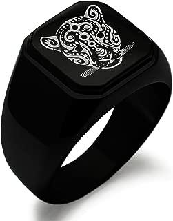 Stainless Steel Mayan Jaguar Rune Symbol Square Flat Top Biker Style Polished Ring