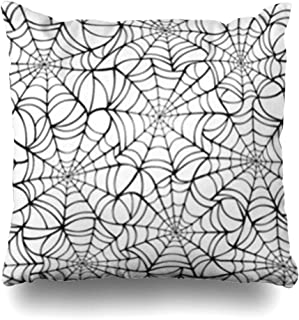 Alfredon Throw Pillow Covers Continuous Spiderweb Black Spider On Abstract Pattern Cobweb Spooky Gothic Arachnid Pillowcase Square Size 18 x 18 Inches Home Decor Cushion Cases