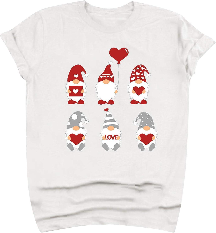 vcsheh Valentine's Day Shirt for Womens Cute Cartoons T-Shirt Love Heart Printed Shirts Short Sleeve Graphic Tees Tops