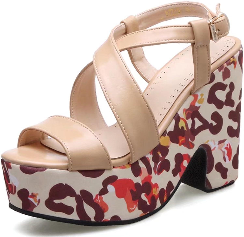 KingRover Women's Platform Camo Chunky Heels Open Toe Casual Heeled Sandal