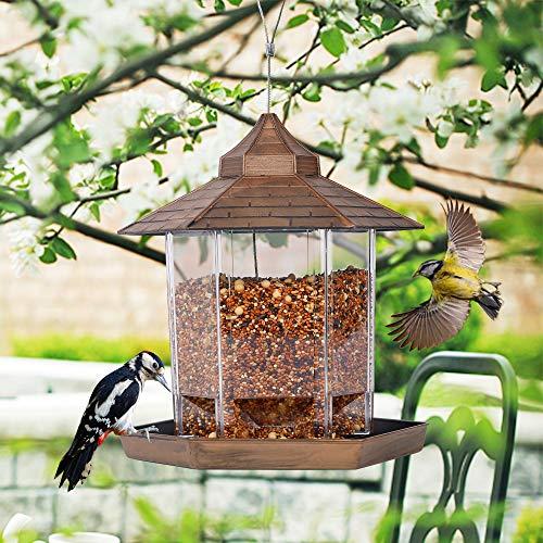 SAND MINE Panorama Bird Feeder, Hexagon Shaped with Roof Hanging Bird Feeder for Garden Yard Decoration (Bronze)