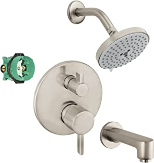 Hansgrohe KST04447-27495-13BN Raindance Shower Faucet Kit with Tub Spout PBV Trim with Diverter and Rough, Brushed Nickel