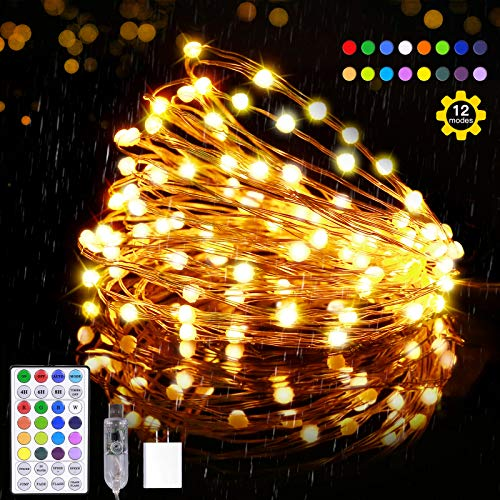 Outdoor String Lights,Fairy Lights with 16 Color Changing/12 Modes/Timer/Remote,Weatherproof Waterproof Led Christmas Lights 35ft 100LED,Twinkle Light for Outdoor Indoor Tree Xmas Party Bedroom