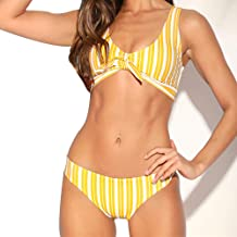 DLTEREN Women Sexy Vertical Striped V-Neck Front Tie Bow Two Pieces Swimsuit Low Waist Swimwear