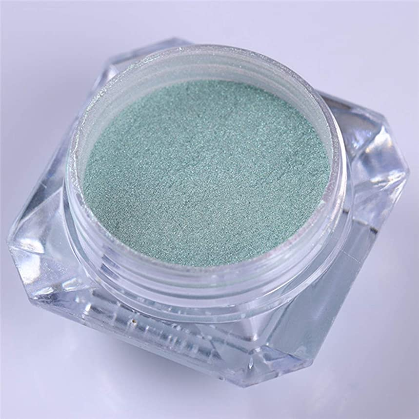 1 Pcs Mermaid Pearl Green Nails Glitter Manicure Polish Holographic Mirror Chrome Pigment Kit Gorgeous Popular Fine Powder Dust UV Gel Acrylic Nail Art Tips Makeup Tool