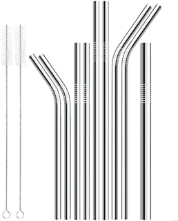 11Pcs Long Stainless Steel Metal Drinking With Cleaning Brushes Set ( 9 Pcs Stainless Steel Drinking Straws+2 Pcs Brush)