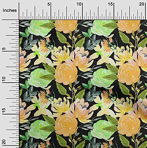 oneOone Cotton Poplin Orange Fabric Florals DIY Clothing Quilting Fabric Print Fabric by Yard 56 Inch Wide-ILM