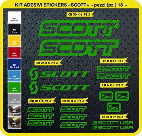 Adesivi Bici Scott Kit Adesivi Stickers 18 Pezzi -Scegli SUBITO Colore- Bike Cycle pegatina cod.0112 (Verde Lime cod. 064)