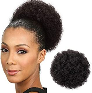 Afro Buns for Black Women Kinkys Curly Hair Ponytail Short Black Brown Wig Puff Drawstring Ponytail Clip in on Hair Extensions for African American Women (Natural Color -2#)