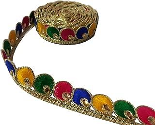 9 Yard Kundan Multicolor Trim Dupatta,Saree,Sari Kundan Lace,Glass Beads,Stone Work Border,Bollywood Sari,Wedding Golden