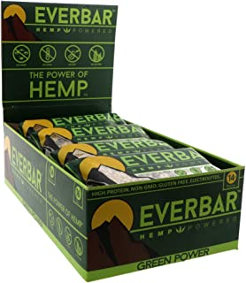 EverBar Protein Bar - Green Power - 16 Bars - ONLY 6 Ingredients - 14g of Protein - Clean Energy Meal Replacement - Gluten-Free, Non-GMO, Dairy Free, Soy Free - Hemp Protein