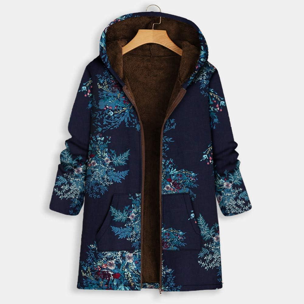 Andouy Damen Faux-Fleece-Mantel Warme Mode Print Reißvers Outwear Übergroße Jacken mit Taschen Marine