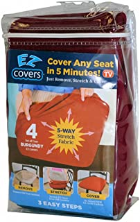 Universal Stretch Smaller-Medium Seat Covers -4 Pack Fabric Cushion Slipcovers and Protectors for Smaller- Medium Chair Types-Burgundy-by EZ Cover