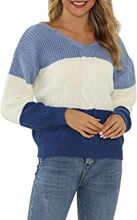 ERLOU Women's Casual V-Neck Pullover Patchwork Long Sleeve T-Shirts Loose Sweatshirts Knitted Sweater