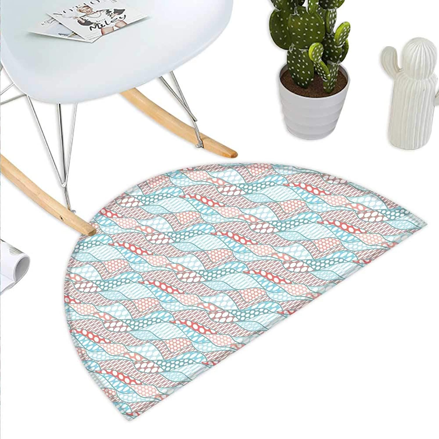 Geometric Semicircle Doormat Wavy Stripes with Large Spots Ovals Leaf Stylish Soft Artwork Halfmoon doormats H 39.3  xD 59  Pale bluee Dried pink Peach