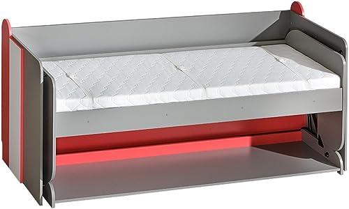 Mirjan24  Jugendbett und Schreibtisch Futuro F14, Schrankbett mit Schreibtisch, Wandbett, Funktionsbett für Jugendzimmer (Graphit Weiß + Himbeerrot, mit Schaumstoffmatratze)