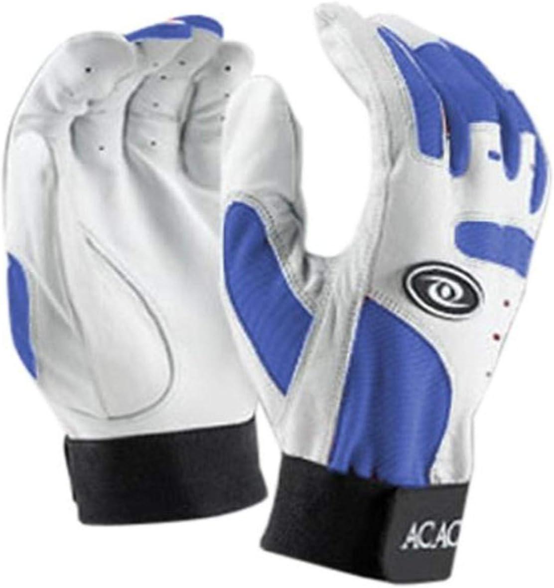 ACACIA Home Run Baseball Batting Gloves, White/Royal, Adult Medi
