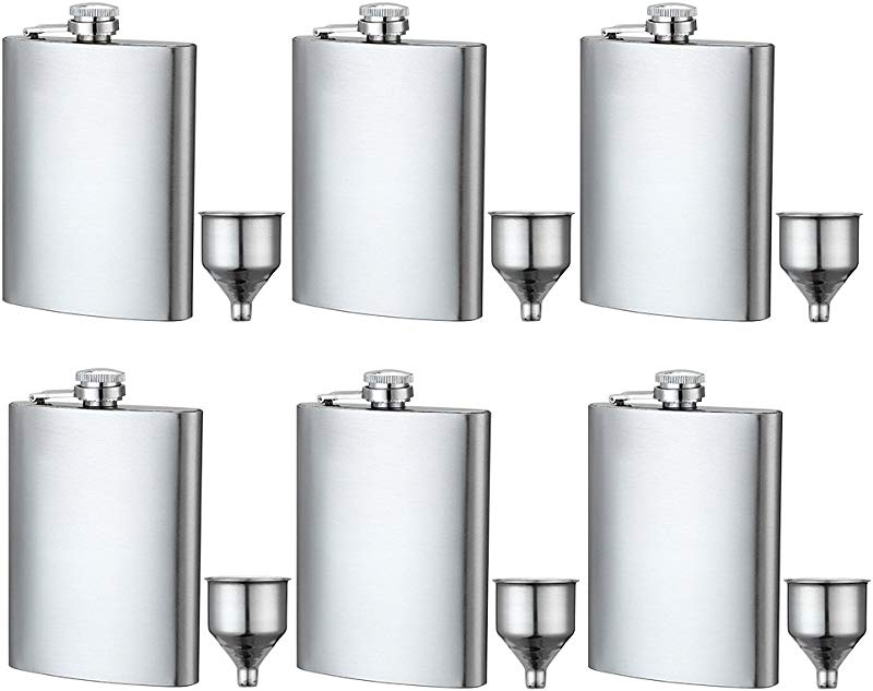 6 Pcs 8 Oz Hip Stainless Flask By YWQ Easy Pour Funnel Is Included Great Gift