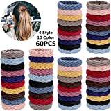60 Pieces Seamless Hair Ties Thick Elastic Hair Ties Ponytail Holders No Crease Hair Bands for Women Girls, 4 Styles (Mixed Color)
