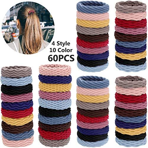 60 Stücke Nahtlose Baumwolle Haargummis Elastische Haargummis Pferdeschwanz Halter Keine Falten Haarbänder für Frauen Mädchen, 4 Stile