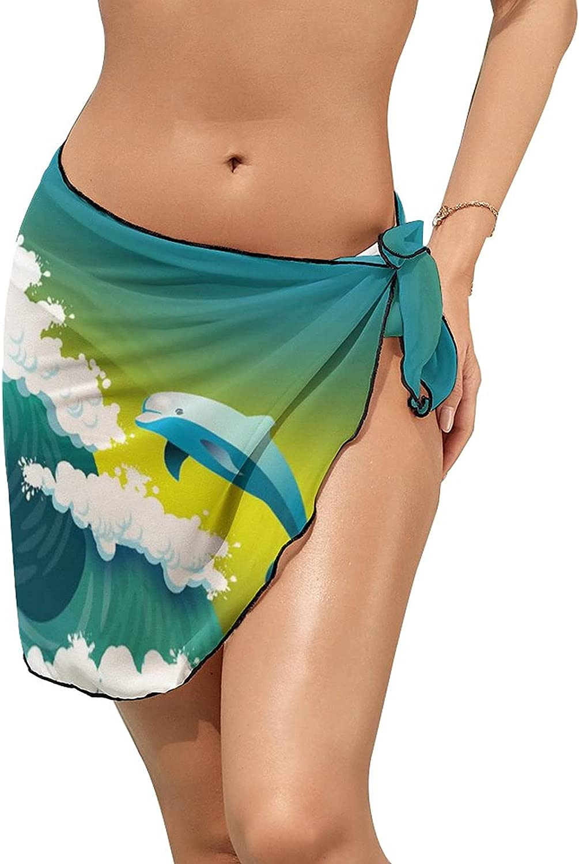 Women Beach Wrap Skirt Chiffon Sarong Pareo Swimsuit Bikini Cover Ups Dolphin Sea Wave