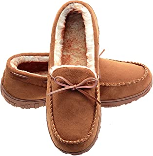 LA PLAGE Mens Slippers Indoor/Outdoor Plush Lining Moccasin Microsuede Slip On House Shoes