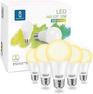 Aigostar - Bombilla LED A60 E27 12W, 984 lúmenes, Luz calida 3000K, Ángulo 280° - Caja de 5 unidades