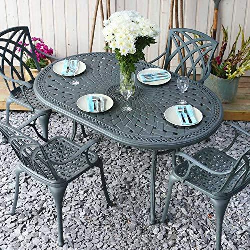 Lazy Susan June 4 Seater Oval Sand-cast Aluminium Garden Furniture Set, Maintenance-free, Weatherproof, Slate Finish, Matching Kate Chairs, Blue Cushions