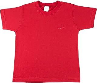 Camiseta Infantil Meia Malha Manga Curta Básica - Vermelho