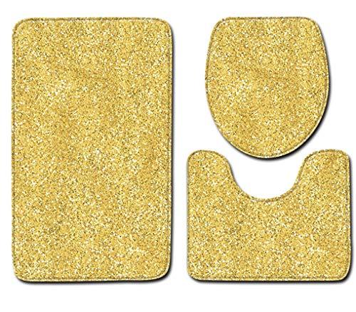 Badmatten 3-Delige Badkamer Gouden Matten Tapijt Antislipcontourmat Toiletbril Cover Mat Badkameraccessoires