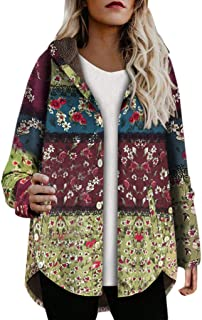 MEEYA Vintage Leaves Floral Printed Hooded Overcoat for Women Winter, Button Plush Coats Outwear (Cotton & Linen)
