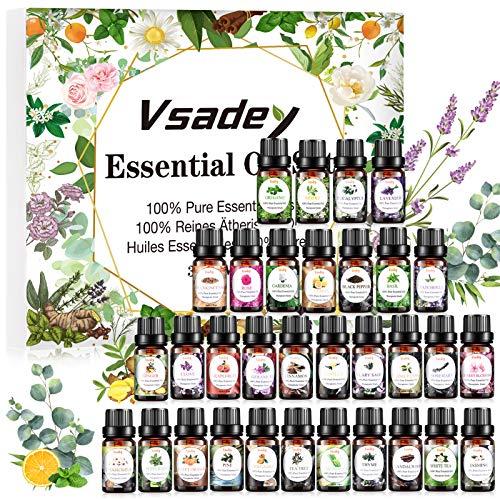 Ätherische Öle Set 32 x 5ml Aromatherapie Duftöl Geschenkset 100% Rein Essential Oils Duftöl für Aroma Diffuser, Duftlampen, Seife, SPA, Massage
