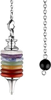 QGEM Péndulo de radiestesia de 7 chakras con 7 discos de piedras preciosas, curativas, Reiki, colgante con cadena