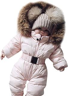 Baby Girls Boys Hooded Snowsuit Winter Warm Light Fur Collar Hooded Down Windproof Jacket Outerwear