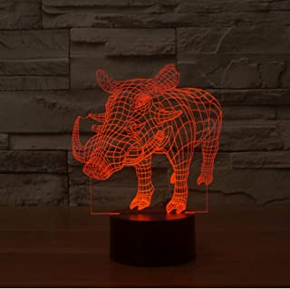 UDIYXC 7 Colors Changing Led Table Desk Lamp 3D Pig Wild Boar Animal Night Light Bedroom Bedside Acrylic Mood Light Fixture Xmas Gifts
