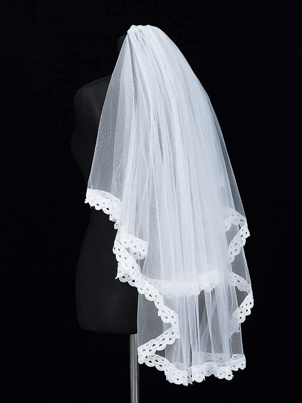 Unicra 2 Tiers Bride Wedding Veil White Short Elbow Length Bridal Tulle with Lace Edge and Comb 25.6/33.5 Inch