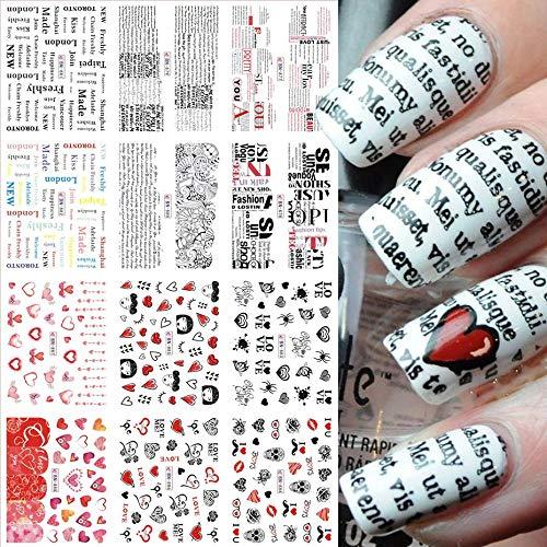 HBNNBV Nails Uñas Postizas 12 unids Valentines Manicure Love Letter Slides para Deslizadores para Clavos Inscripciones de uñas Decoración de la decoración de la Etiqueta engomada del Agua Elegante